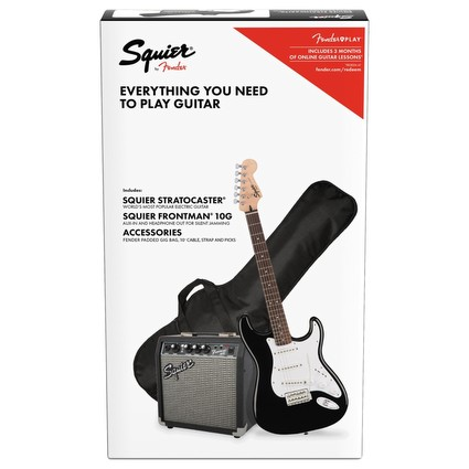 Squier Affinity Electric Guitar Starter Pack 10g - Stratocaster, Black (193399)