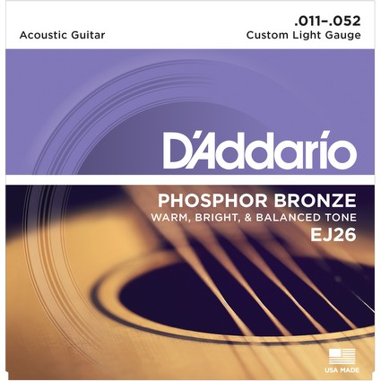 D'Addario EJ26 Acoustic Guitar Strings - Custom Light, 11-52 (23122)