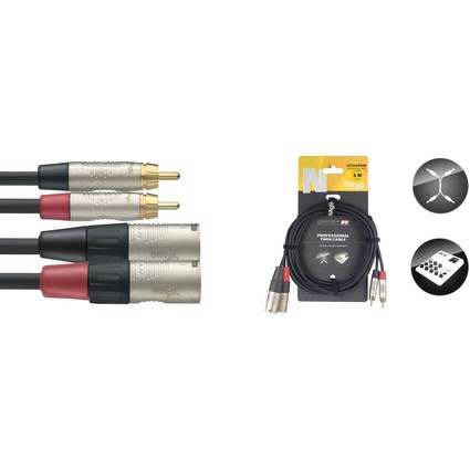 Stagg 3m Twin Phono To Male Xlr Cable (240208)
