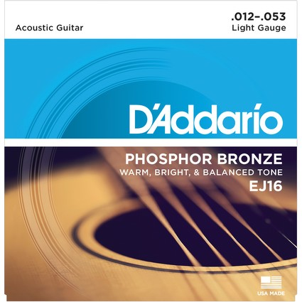 D'Addario EJ16 Acoustic Guitar Strings - Light, 12-53 (499)