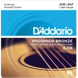 D'addario EJ38 Acoustic Guitar Strings - Extra Light, 10-47, 12-String (79723)
