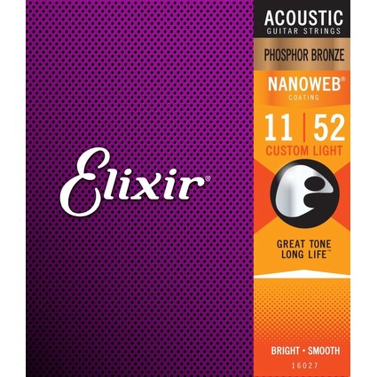 Elixir Nanoweb Acoustic Guitar Strings - Custom Light, 11-52 (81153)