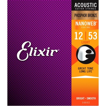 Elixir Nanoweb Phosphor Bronze Acoustic Guitar Strings - 12-53 (81160)