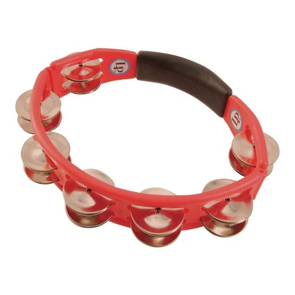 Latin Percussion Cyclops Tambourine, Steel Jingles, Red, Handheld (89197)